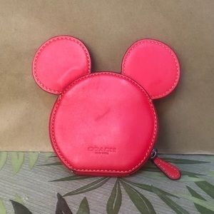 Coach Coin Case  With Mickey Ears Design